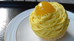 Yellow cream Mont Blanc cake