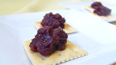 Mashed Sweetened Red Bean Paste on Crackers