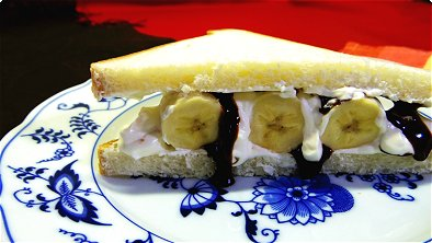 Sandwich with Banana, Chocolate Syrup & Whipped Cream