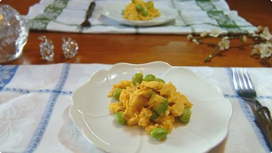 Scrambled Eggs with Green Soybeans