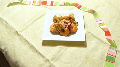 Pan-Broiled Shrimps & Cauliflower with Mayonnaise & Soy Sauce