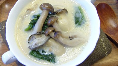 Soy Milk Soup with Oysters & Vegetables