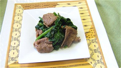 Seared Beef & Spinach with Soy Sauce