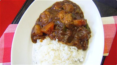 Japanese Curry & Rice with Bonito Soup Stock