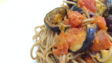 Buckwheat Noodles with Eggplant & Cheese Tomato Sauce