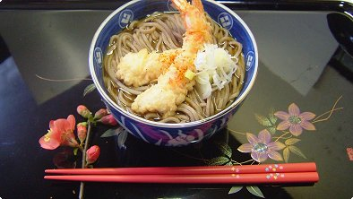 Buckwheat Noodles with Shrimp Tempura