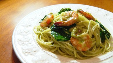 Shrimp & Spaghetti with Matcha Cream Sauce