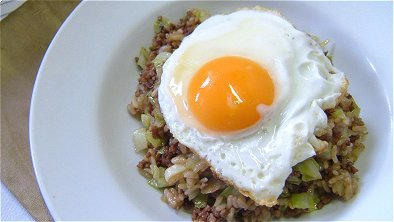 Worcestershire Sauce Flavored Fried Rice with Fried Egg