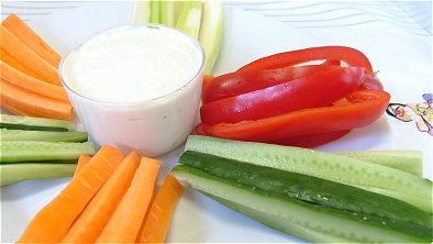 Vegetable Sticks with Tofu Cheese Dip